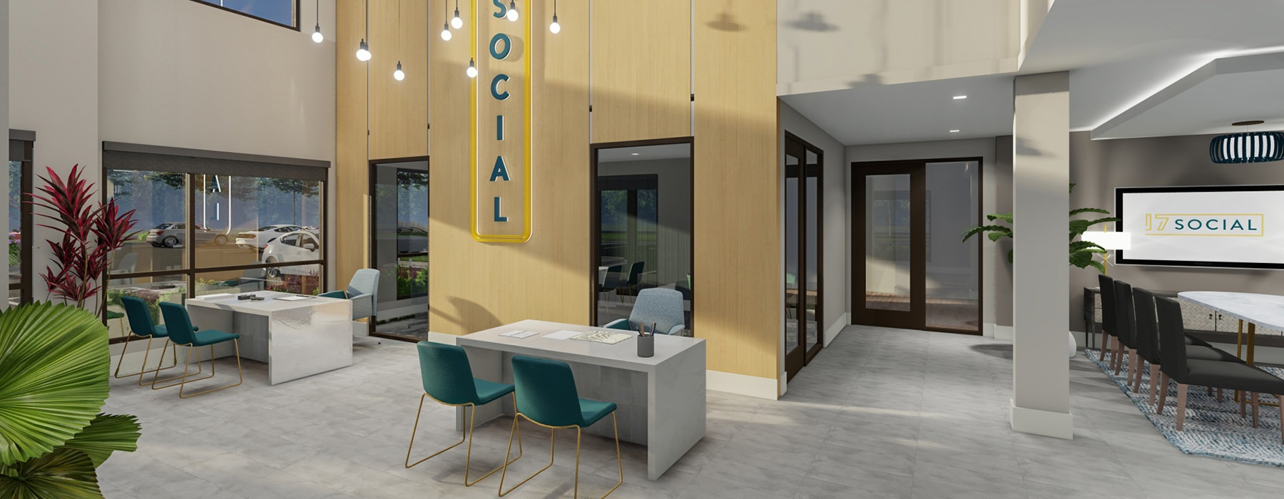 Modern lobby space/leasing office