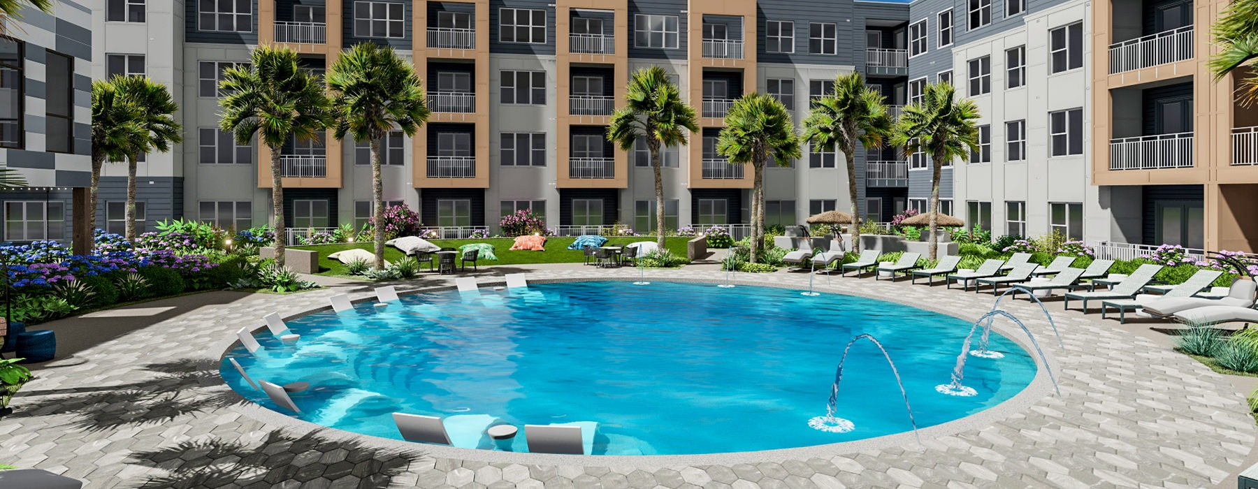 Resort-style pool area with ample seating